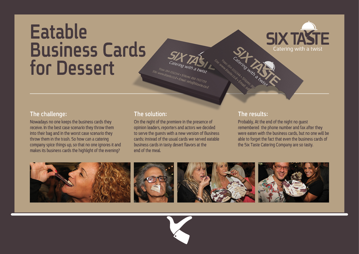 Six Taste Direct Advert By Addict: Eatable business cards for ...