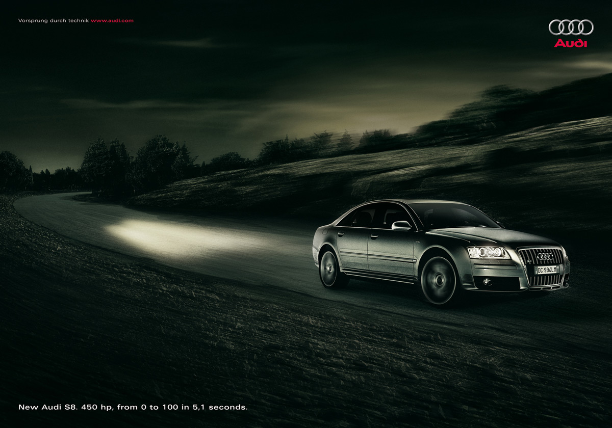 Print Advert By Light Ads Of The World - Audi car commercial