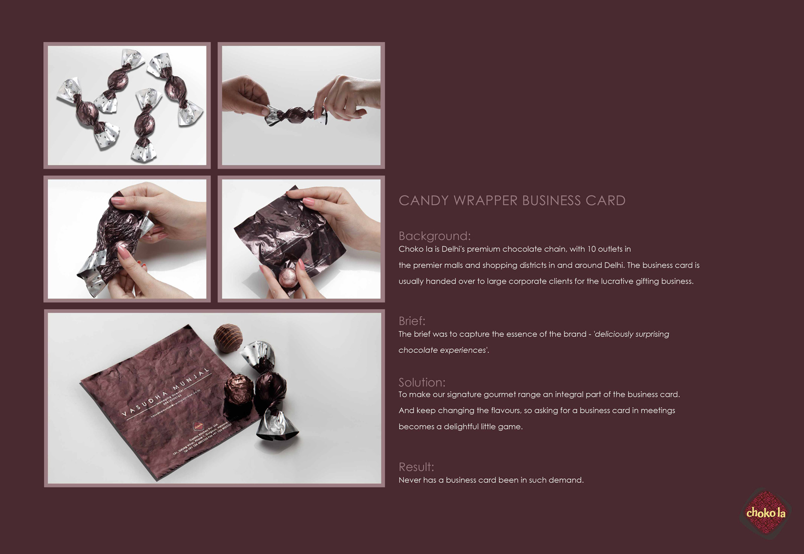 Choko la Direct Advert By FCB: Candy wrapper business card | Ads of ...
