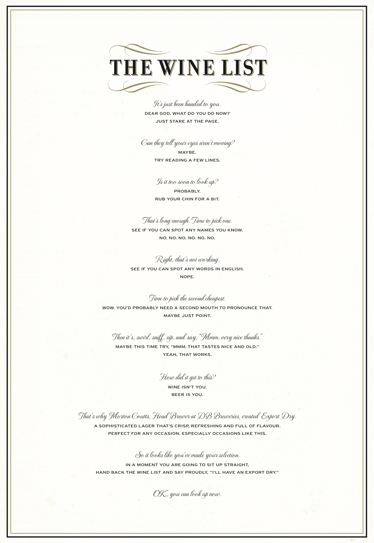 DB Export Dry Print Advert By BBDO The Wine List – Free Wine List Template