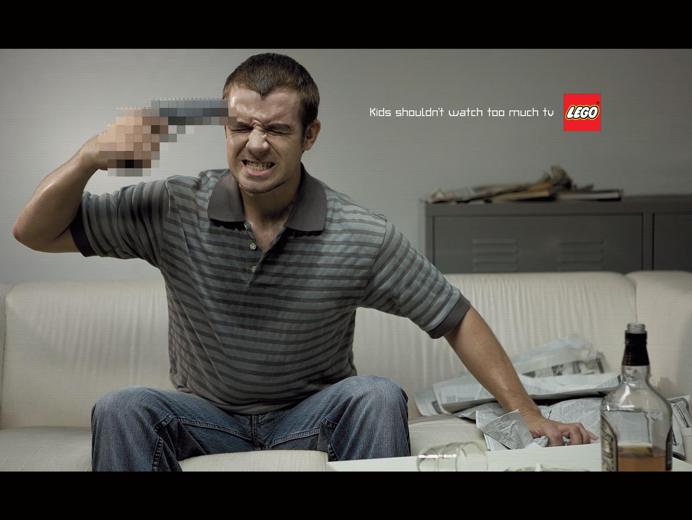kids watching tv violence. lego print ad - violence kids watching tv