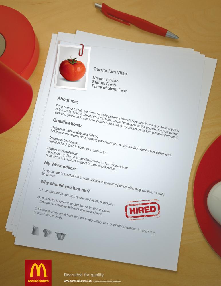 mcdonalds print ad tomato cv
