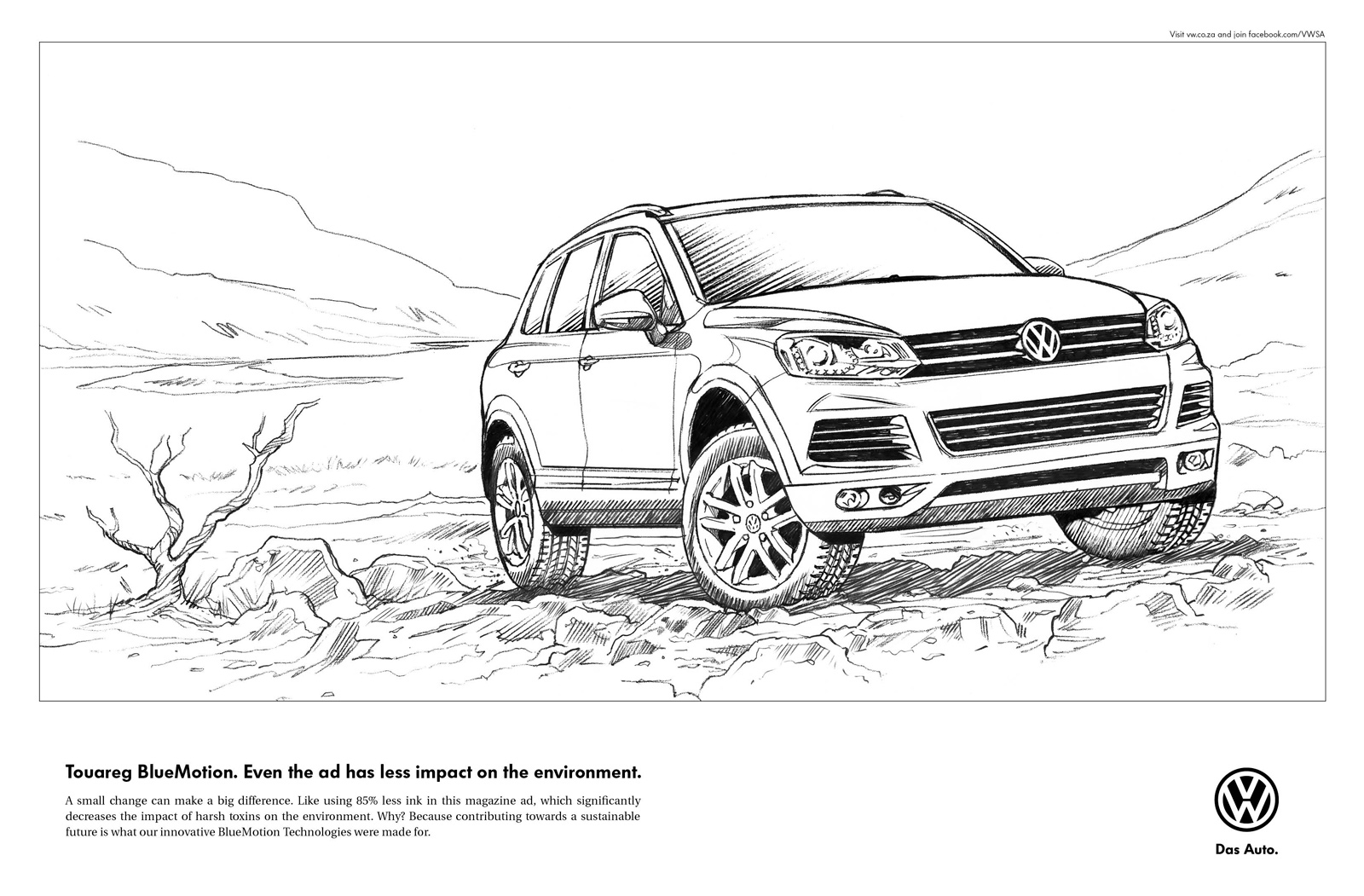 Line Drawing Car : Volkswagen print advert by ogilvy: line drawing ads of the world™