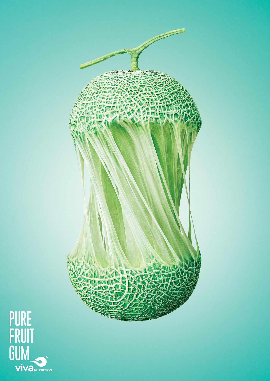 pure fruit gum print advert  goodstein melon ads   world