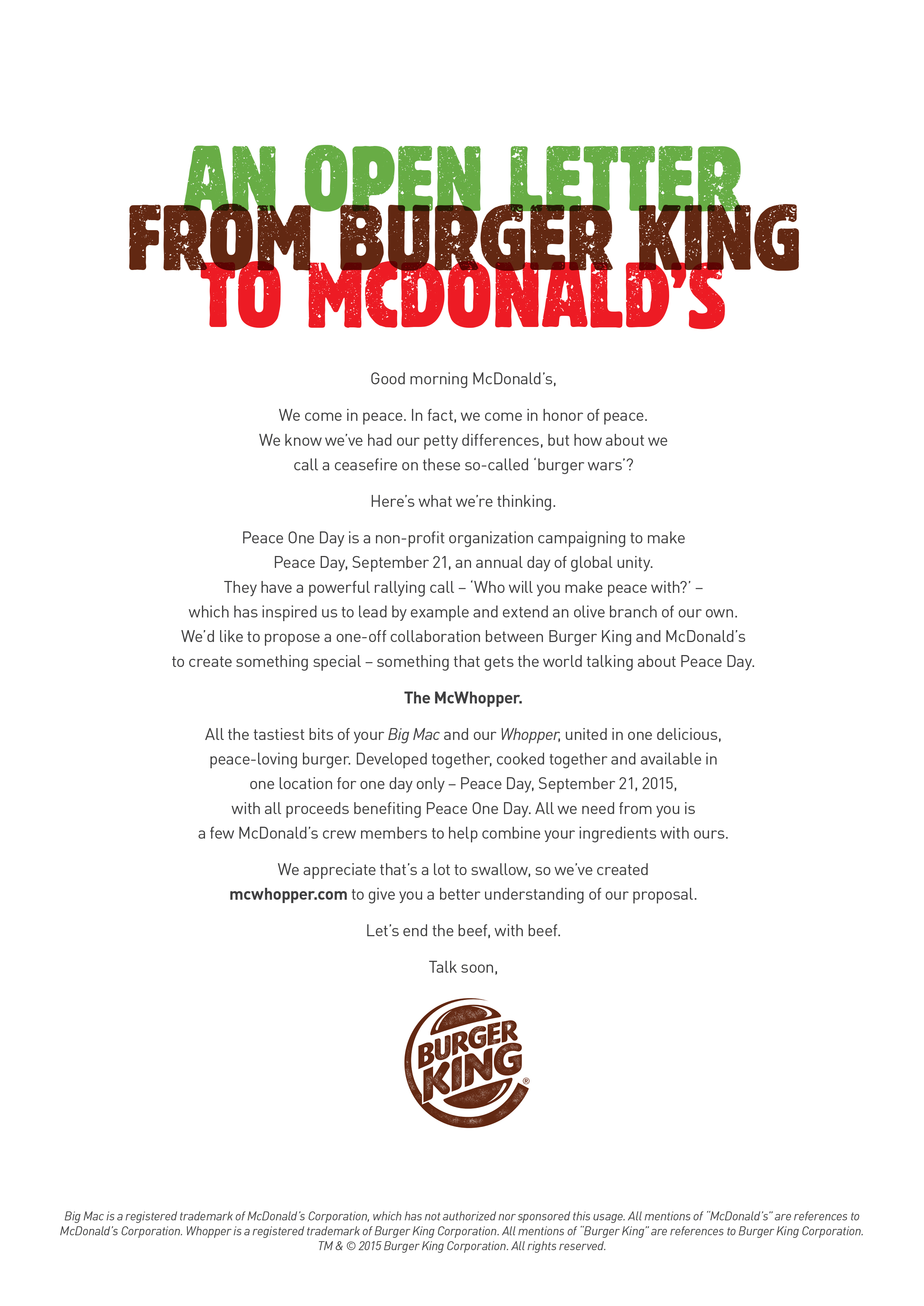 Burger King, Peace One Day Digital Advert By Y&R: McWhopper | Ads of ...