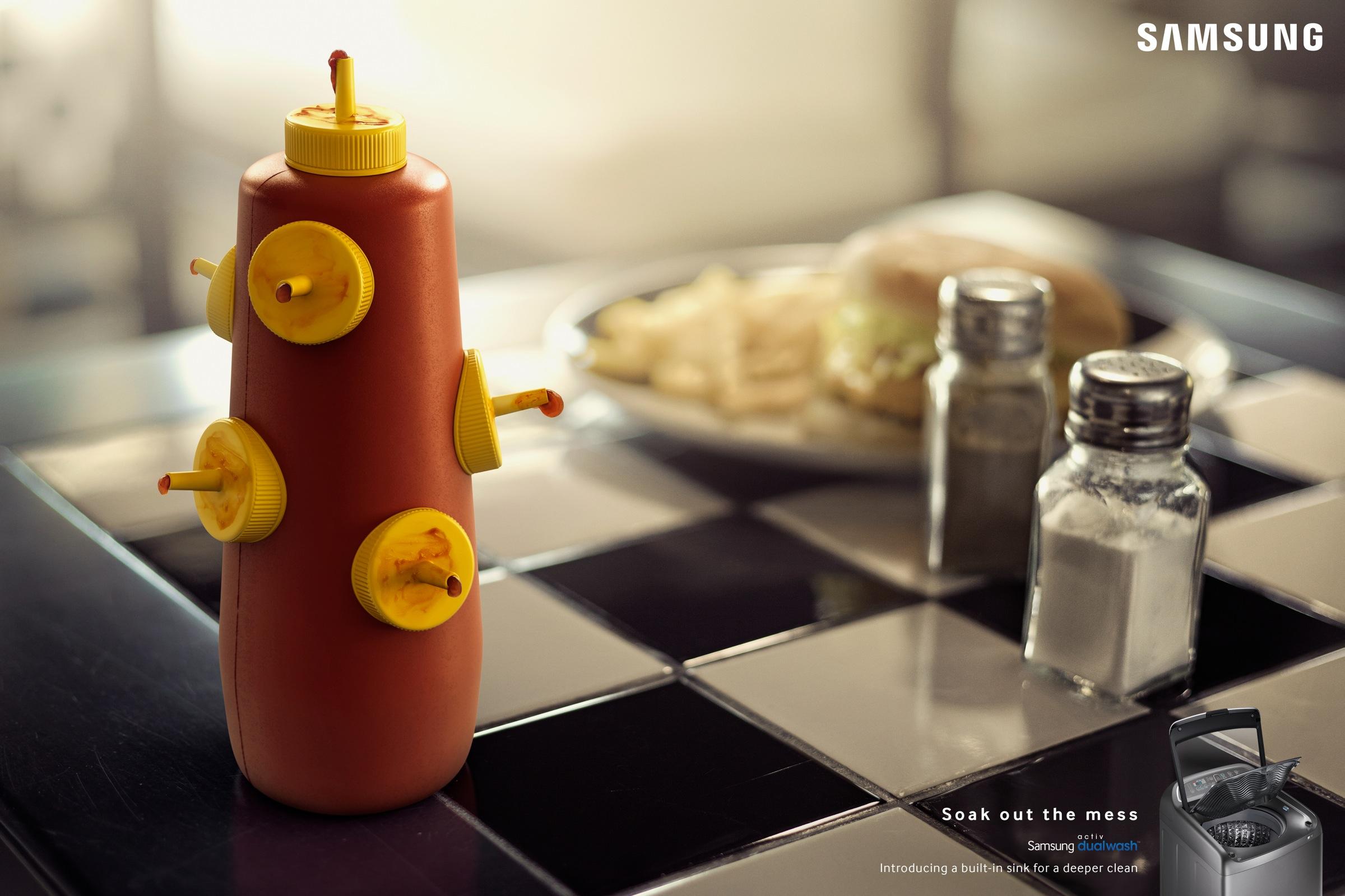 print ad leo burnett. Samsung Print Ad - Soak Out The Mess Ketchup Leo Burnett