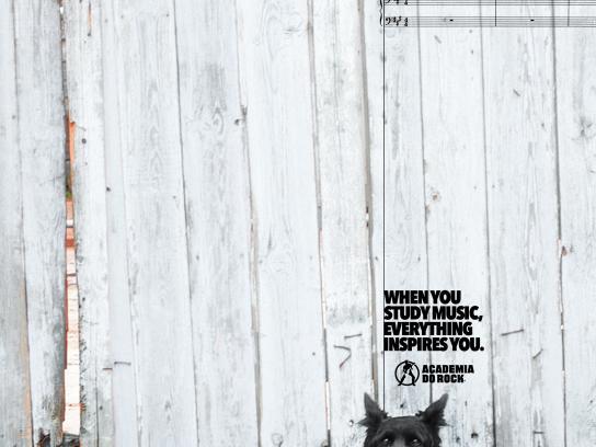 Academia do Rock Print Ad - Black dog