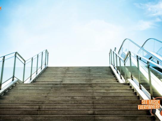 PopClik Headphones Print Ad -  Stairway