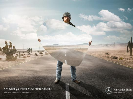Mercedes Print Ad -  Danger in the rear-view mirror, 1