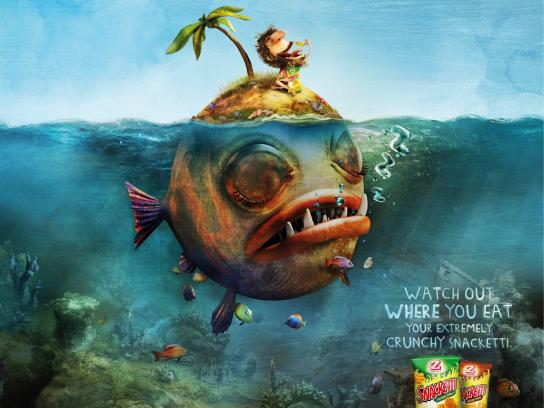 Snacketti Print Ad -  Fish island
