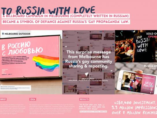 Melbourne Queer Film Festival Outdoor Ad - To Russia with love