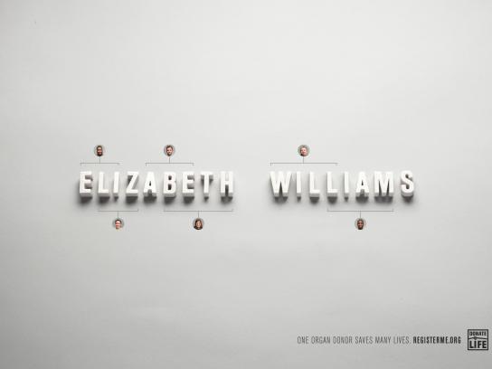 DonateLife America Print Ad - Elizabeth Williams
