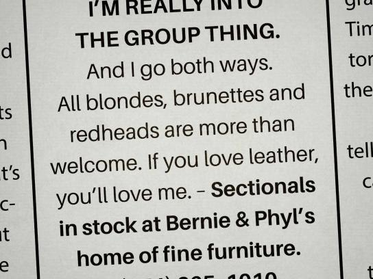 Bernie & Phyl's Print Ad - Personal ads, 2