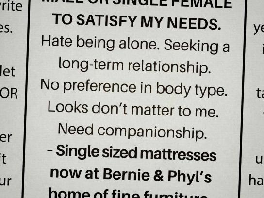 Bernie & Phyl's Print Ad - Personal ads, 6