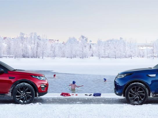 Land Rover Print Ad - Winter Swim