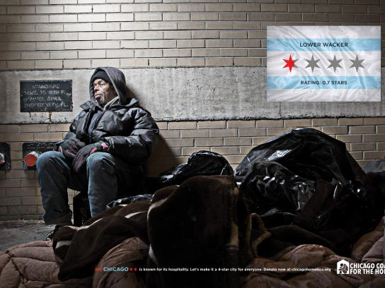 Chicago Collation For The Homeless Print Ad - 4 STAR CITY - LOWER WACKER