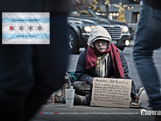 Chicago Collation For The Homeless Print Ad - 4 STAR CITY - MICHIGAN & CHESTNUT