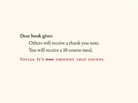 Foyles Outdoor Ad -  Dear book giver, 2