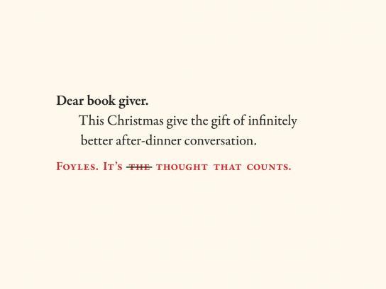 Foyles Outdoor Ad -  Dear book giver, 6