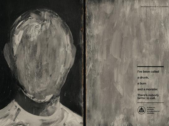 Alcoholics Anonymous Outdoor Ad - Grey face