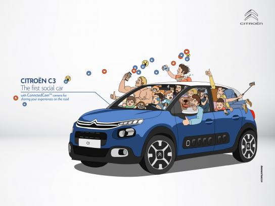 Citroën Print Ad - The First Social Car