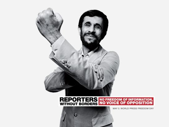 Reporters Without Borders Print Ad -  Ahmadinejad