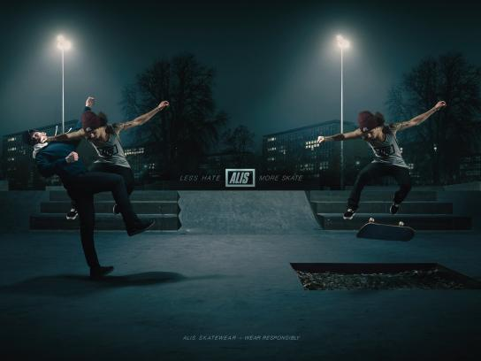 Alis Print Ad - Less Hate – More Skate, 1