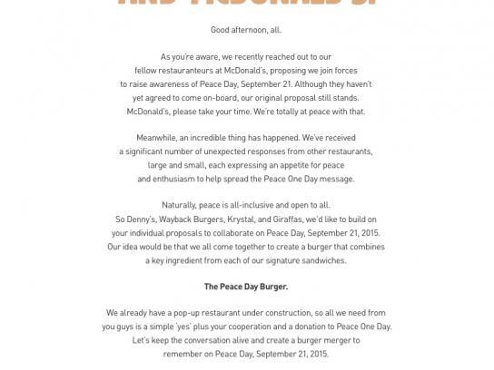 Burger King Print Ad -  Peace Day Burger