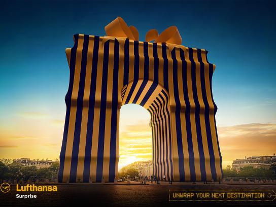 Lufthansa Print Ad - Arc De Triomphe