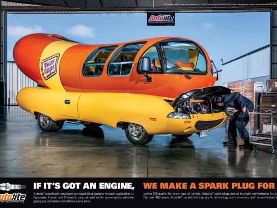 Autolite Print Ad -  Wienermobile