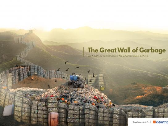 Cleartrip Print Ad - Planet Plastic - The Great Wall of Garbage