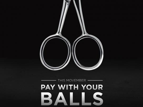 Barba Men's Grooming Boutique Print Ad - Pay with your balls - scissors