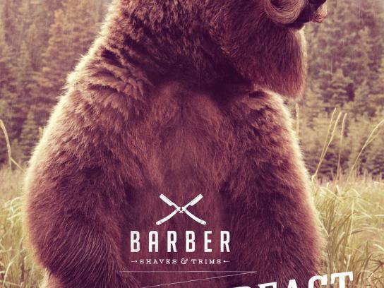 Barber Print Ad -  Tame the beast, Bear