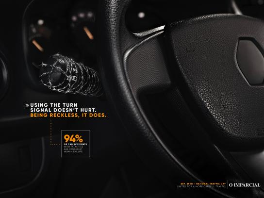 O Imparcial Print Ad - The Turn Signal Doesn't Hurt - Barbwire