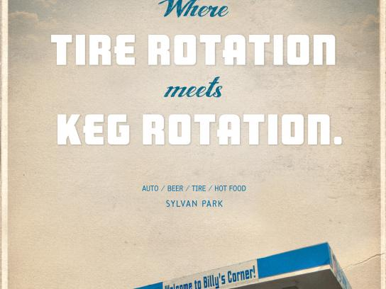 Billy's Corner Print Ad - Tire Rotation