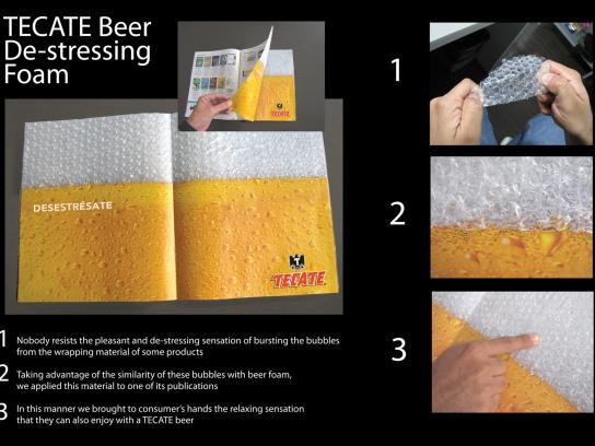 Tecate Ambient Ad -  De-stressing foam