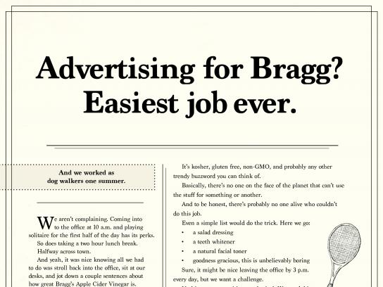 Bragg Print Ad - It sells itself