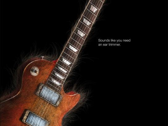 Braun Print Ad -  Hairy Sound, Guitar