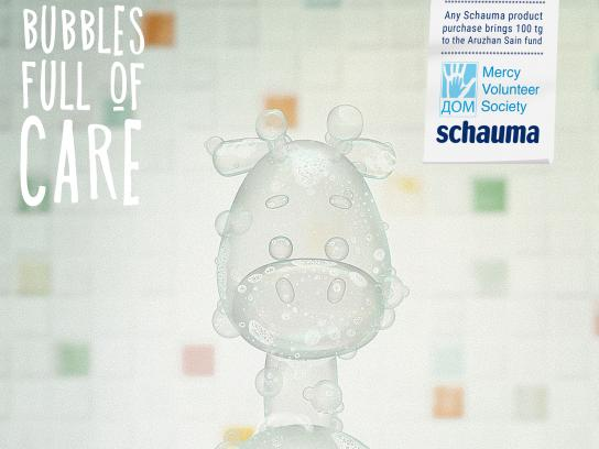 Schauma Print Ad - Bubbles Full of Care - Giraffe