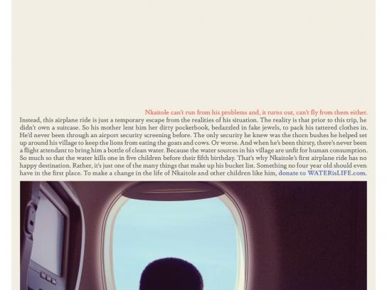 WATERisLIFE Print Ad -  A 4 year old's bucket list  #6  Fly like a bird