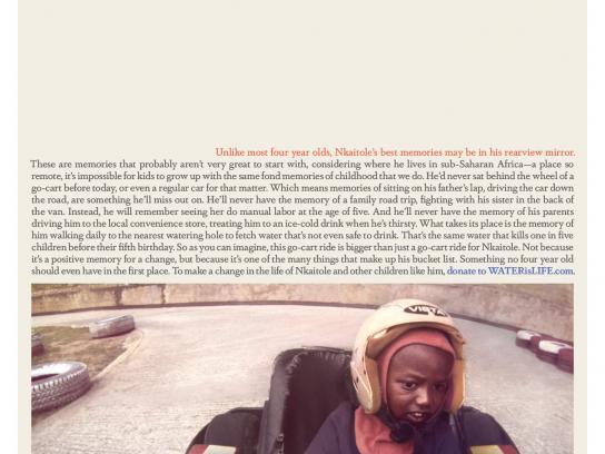 WATERisLIFE Print Ad -  A 4 year old's bucket list  #7  Drive a race car