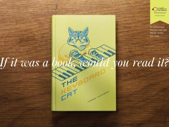 Café com Letras Print Ad -  Keyboard cat