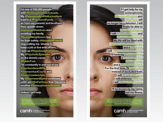 CAMH Print Ad -  #SchizophreniaInCanada