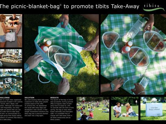 Tibits Vegetarian Restaurant Direct Ad -  Picnic blanket bag