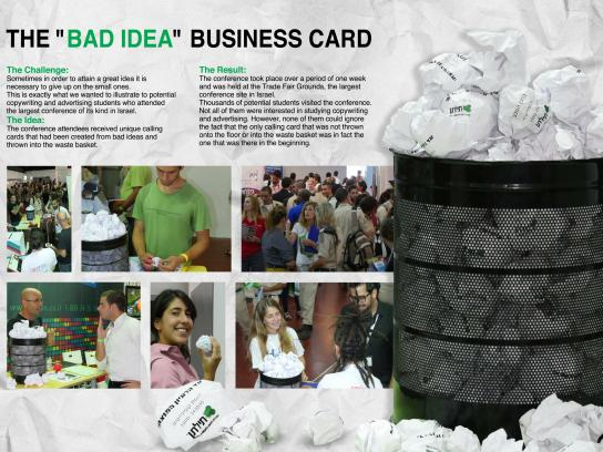 "Tiltan College Direct Ad -  The ""Bad idea"" business card"