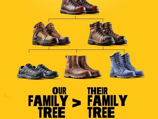 Cat Footwear Print Ad - Family Tree