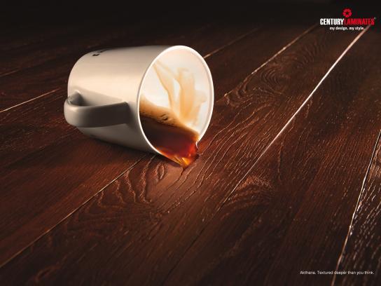 Century Laminates Print Ad -  Fallen cup