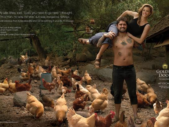 Golden Door Print Ad - Human Again - Chef Ludo and Krissy Lefebvre