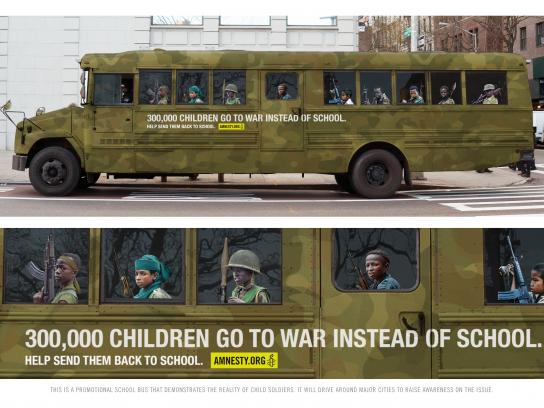 Amnesty International Outdoor Ad - Child soldier school bus