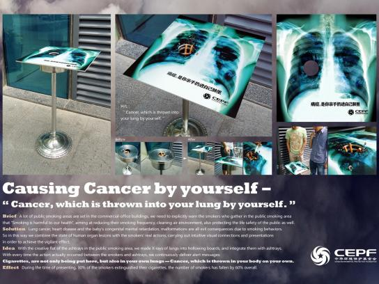 China Environmental Protection Foundation Ambient Ad -  No Smoking Cancer